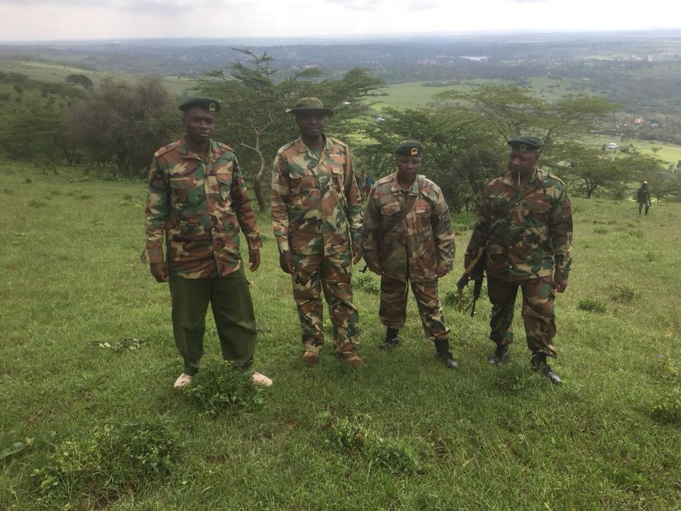 KFS workers stand guard in Ngong Forest