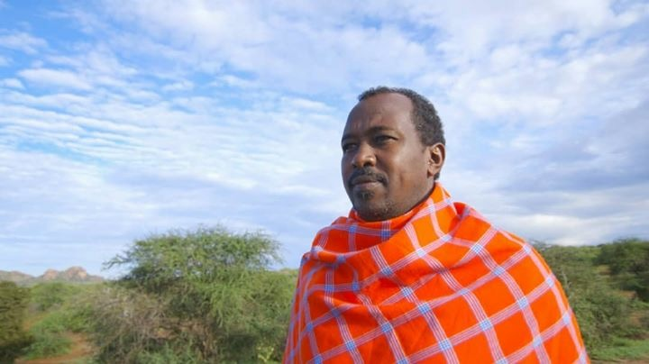 Jacob Lekorere dressed in traditional textile crafts of his Samburu Tribe.