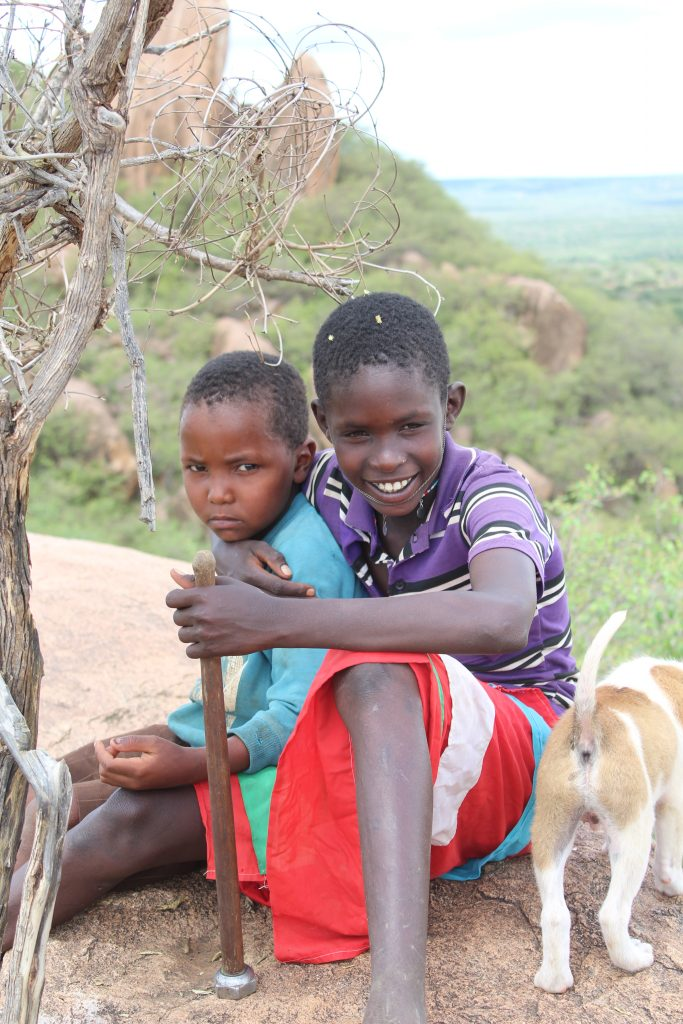 Masai children play in at Morani Preserve