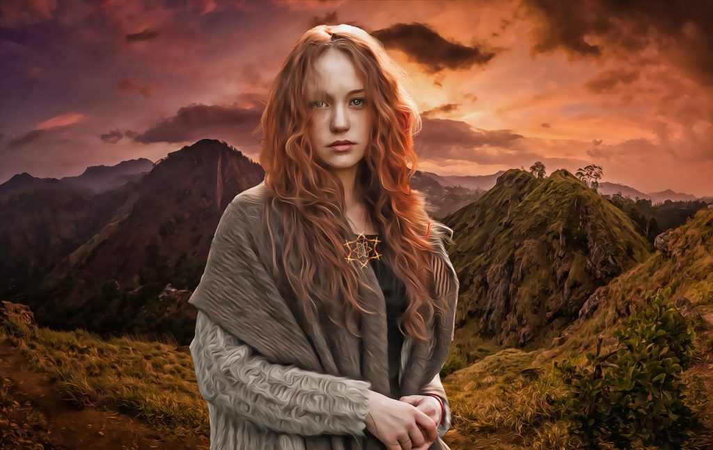 Celtic woman in mystical place.